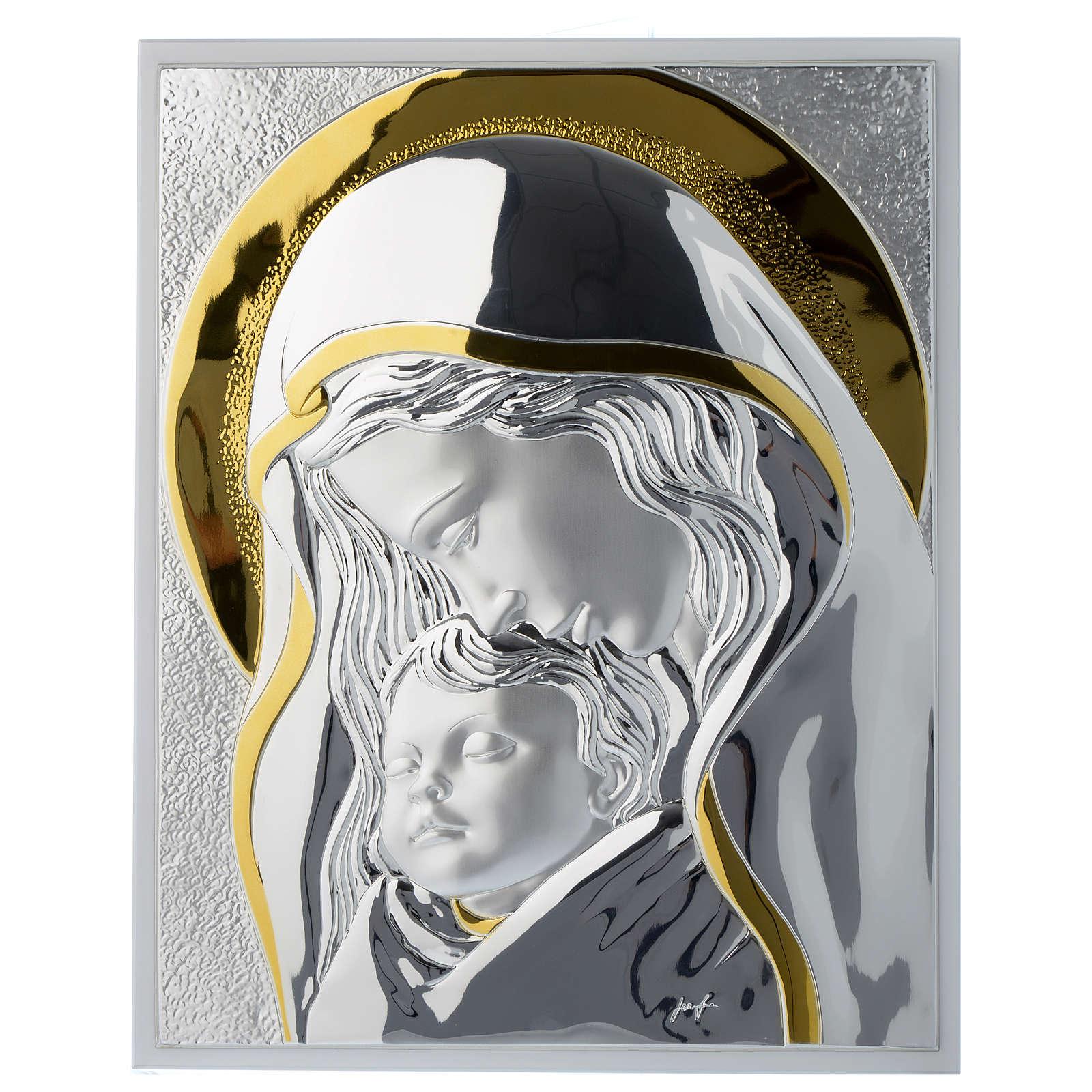 Quadro Madonna con Gesù bambino argento e legno bianco 3