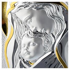 Quadro Madonna con Gesù bambino argento e legno bianco s2
