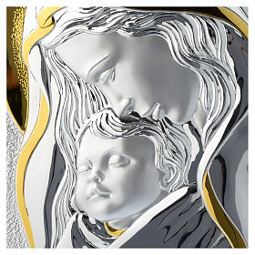 Our Lady with Baby Jesus silver plaque on wood s2