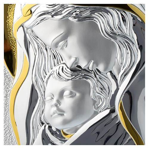 Our Lady with Baby Jesus silver plaque on wood 2