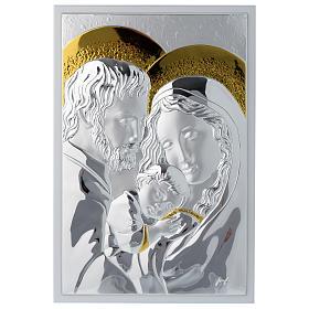 Cadre Sainte Famille rectangulaire argent planche blanche s1