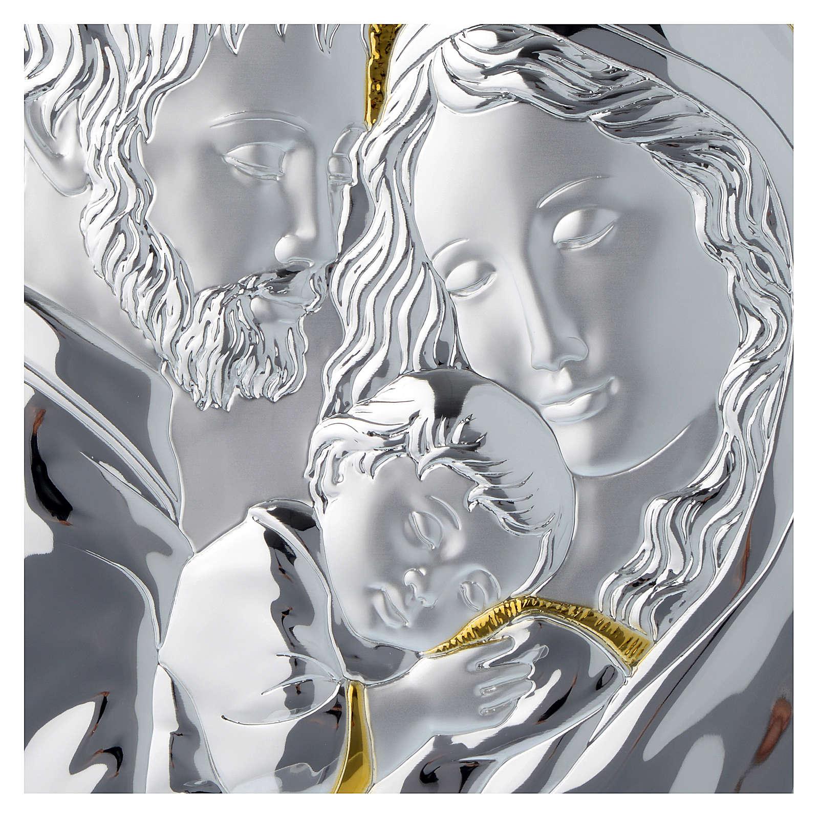 Quadro Sacra Famiglia rettangolare argento tavola bianca 3