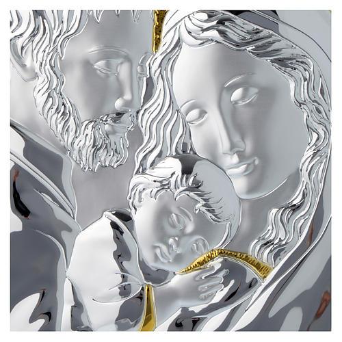 Quadro Sacra Famiglia rettangolare argento tavola bianca 2