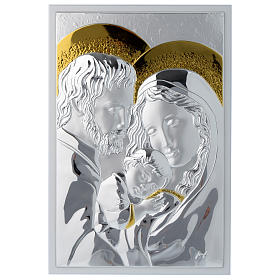 Holy Family silver plaque on wood, rectangular s1