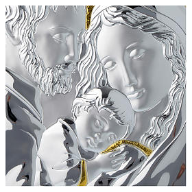 Holy Family silver plaque on wood, rectangular s2