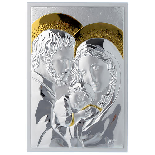 Holy Family silver plaque on wood, rectangular 1