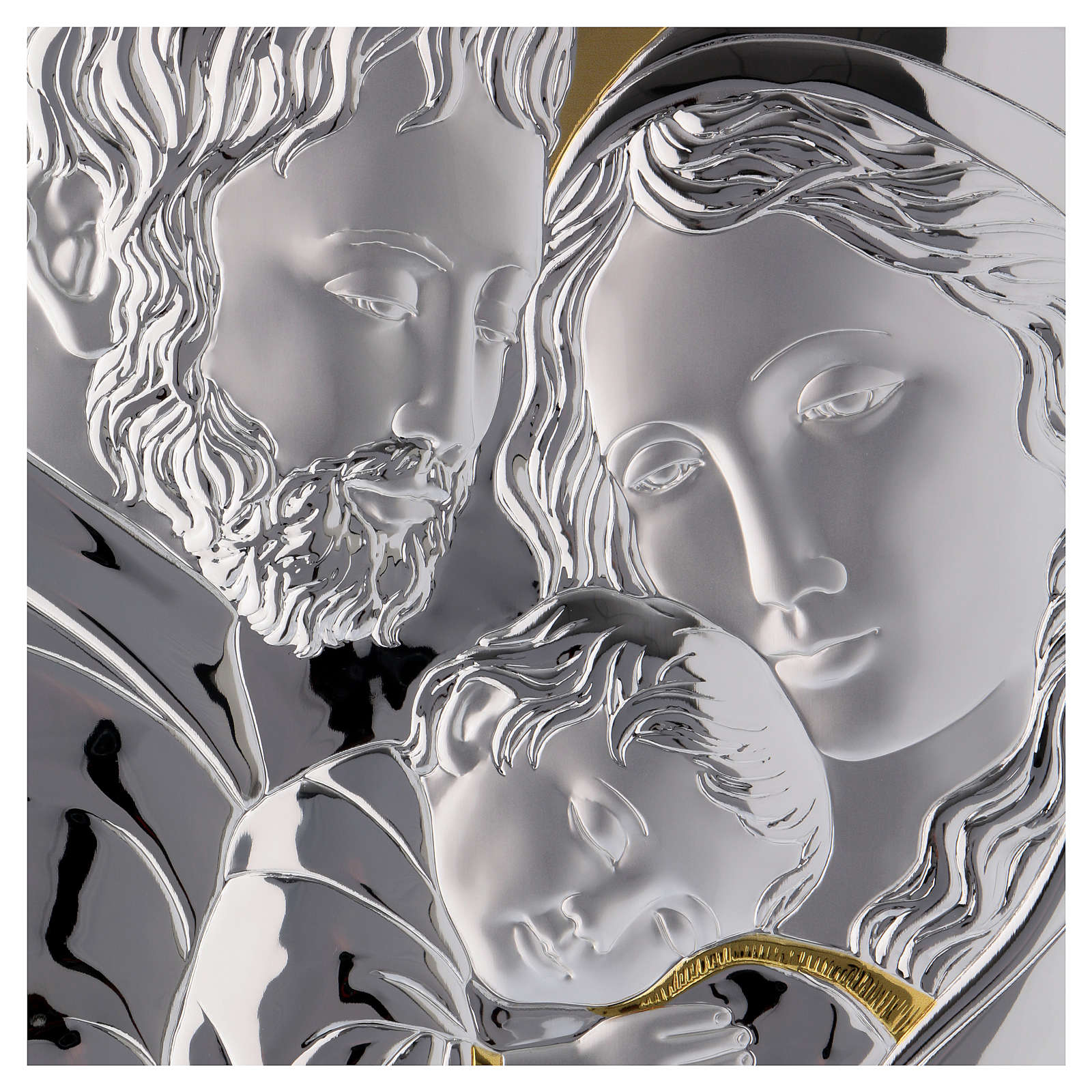 Holy Family painting silver with golden details on white board 3