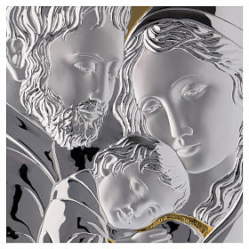 Holy Family painting silver with golden details on white board s2