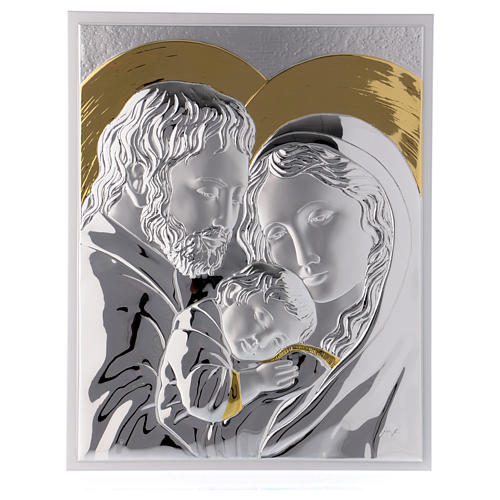 Holy Family painting silver with golden details on white board 1