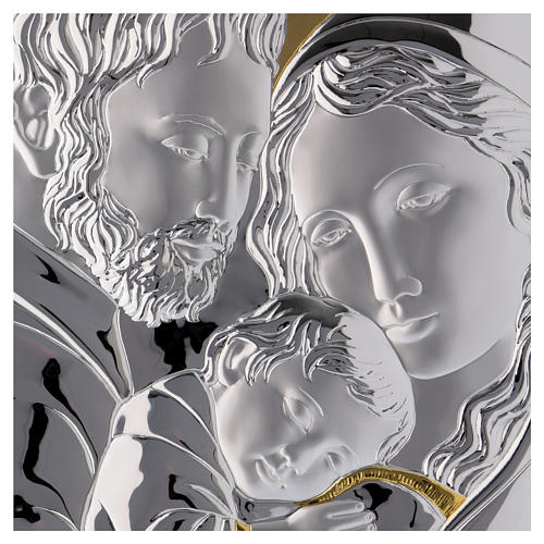 Holy Family painting silver with golden details on white board 2