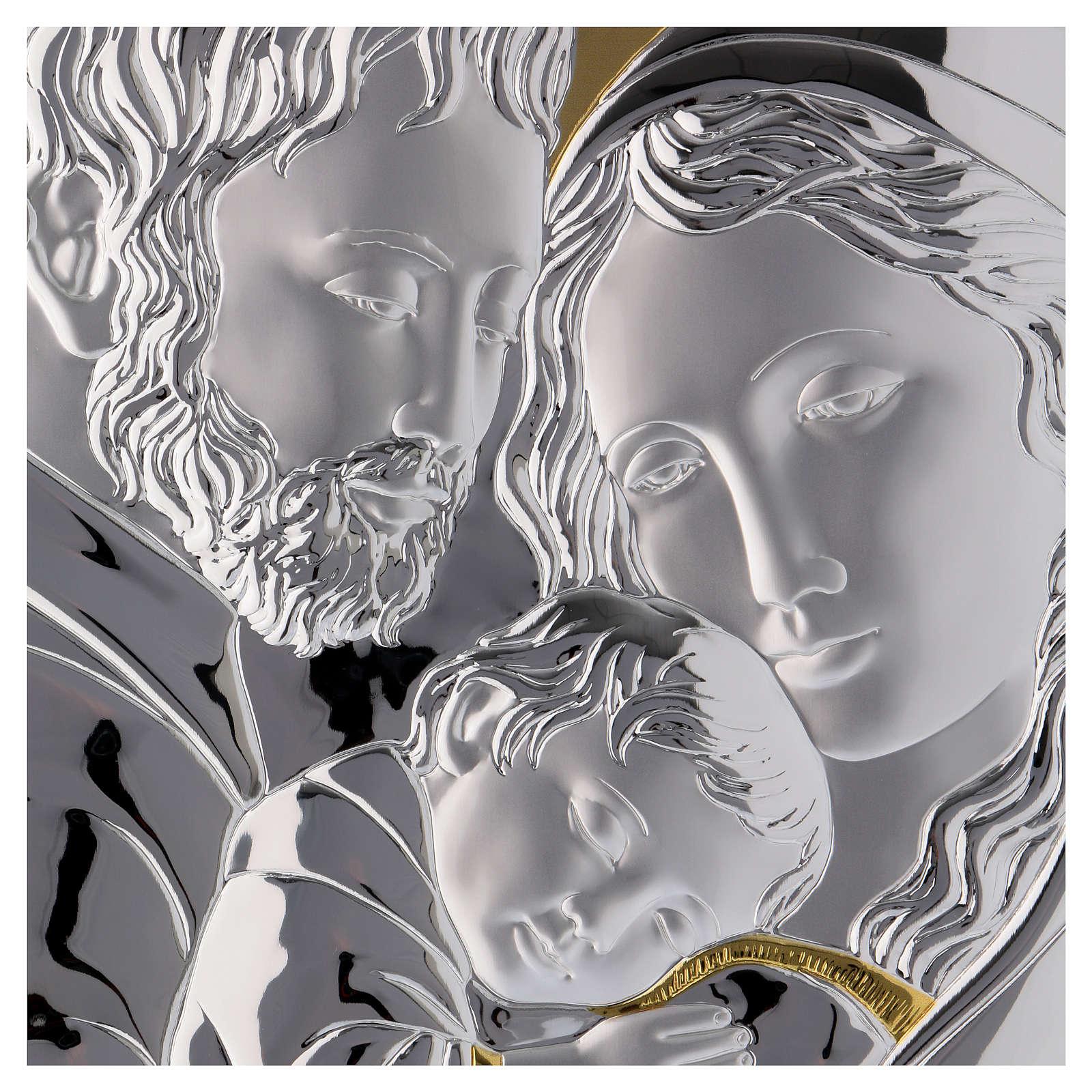 Cuadro Sagrada Familia plata detalles dorados tabla blanca 3