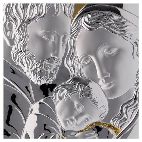 Cuadro Sagrada Familia plata detalles dorados tabla blanca 2
