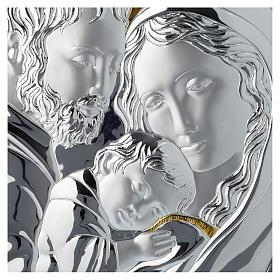 Quadro Sacra Famiglia argento particolari dorati tavola bianca s2