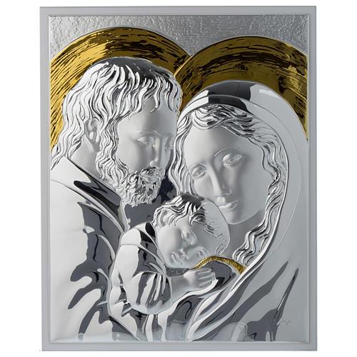 Quadro Sacra Famiglia argento particolari dorati tavola bianca 1