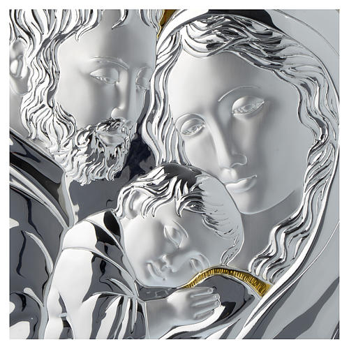 Quadro Sacra Famiglia argento particolari dorati tavola bianca 2