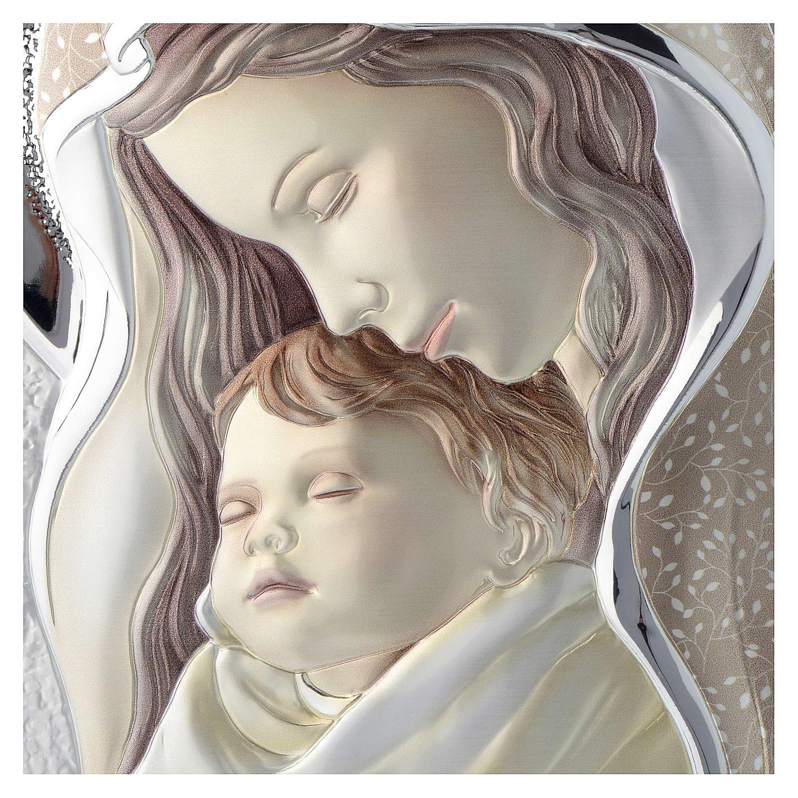Cuadro Virgen y Niño plata coloreada tablo perfilada 3