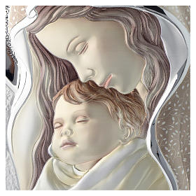 Cuadro Virgen y Niño plata coloreada tablo perfilada s2