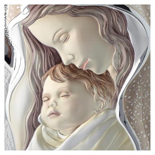 Cuadro Virgen y Niño plata coloreada tablo perfilada 2