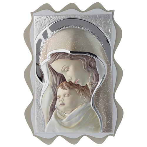 Quadro Madonna e Bambino argento colorato tavola sagomata 1
