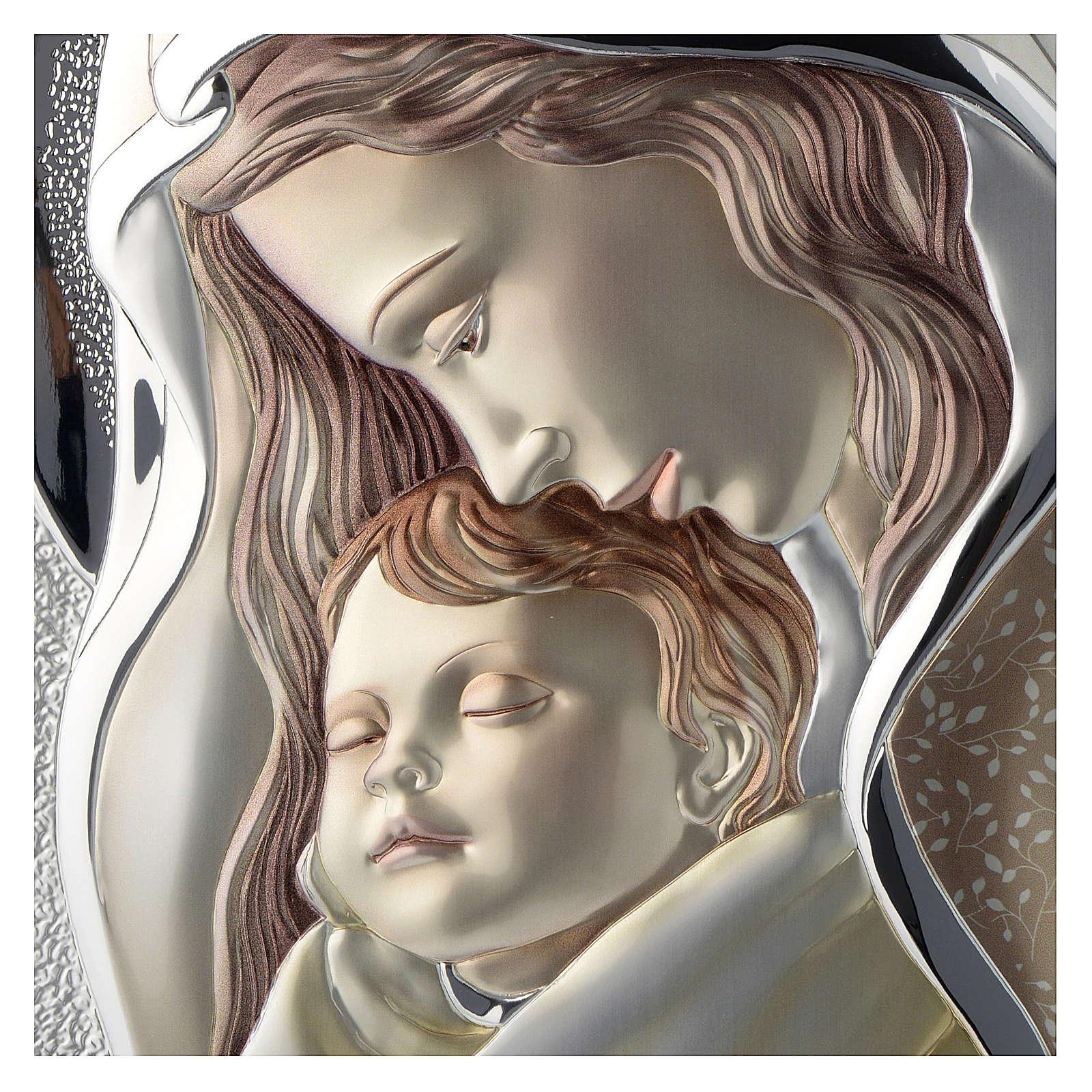 Cuadro Virgen con Niño plata coloreada madera 3