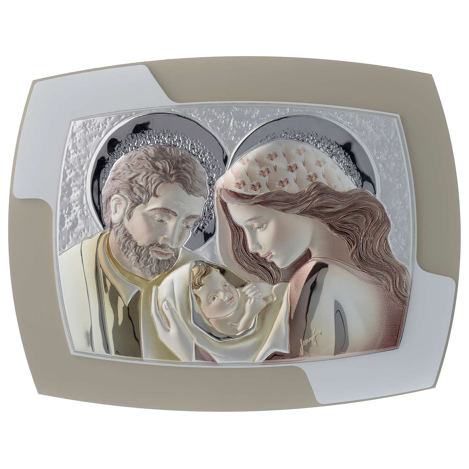 Holy Family painting in silver and two tone wood 3