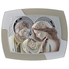 Quadrinho Sagrada Família prata corada e madeira bicolor s1