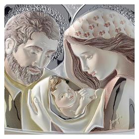 Quadrinho Sagrada Família prata corada e madeira bicolor s2