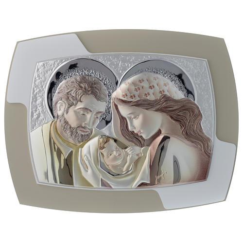 Quadrinho Sagrada Família prata corada e madeira bicolor 1