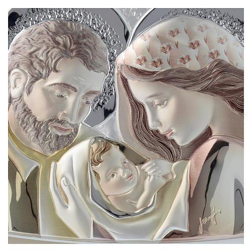 Quadrinho Sagrada Família prata corada e madeira bicolor 2