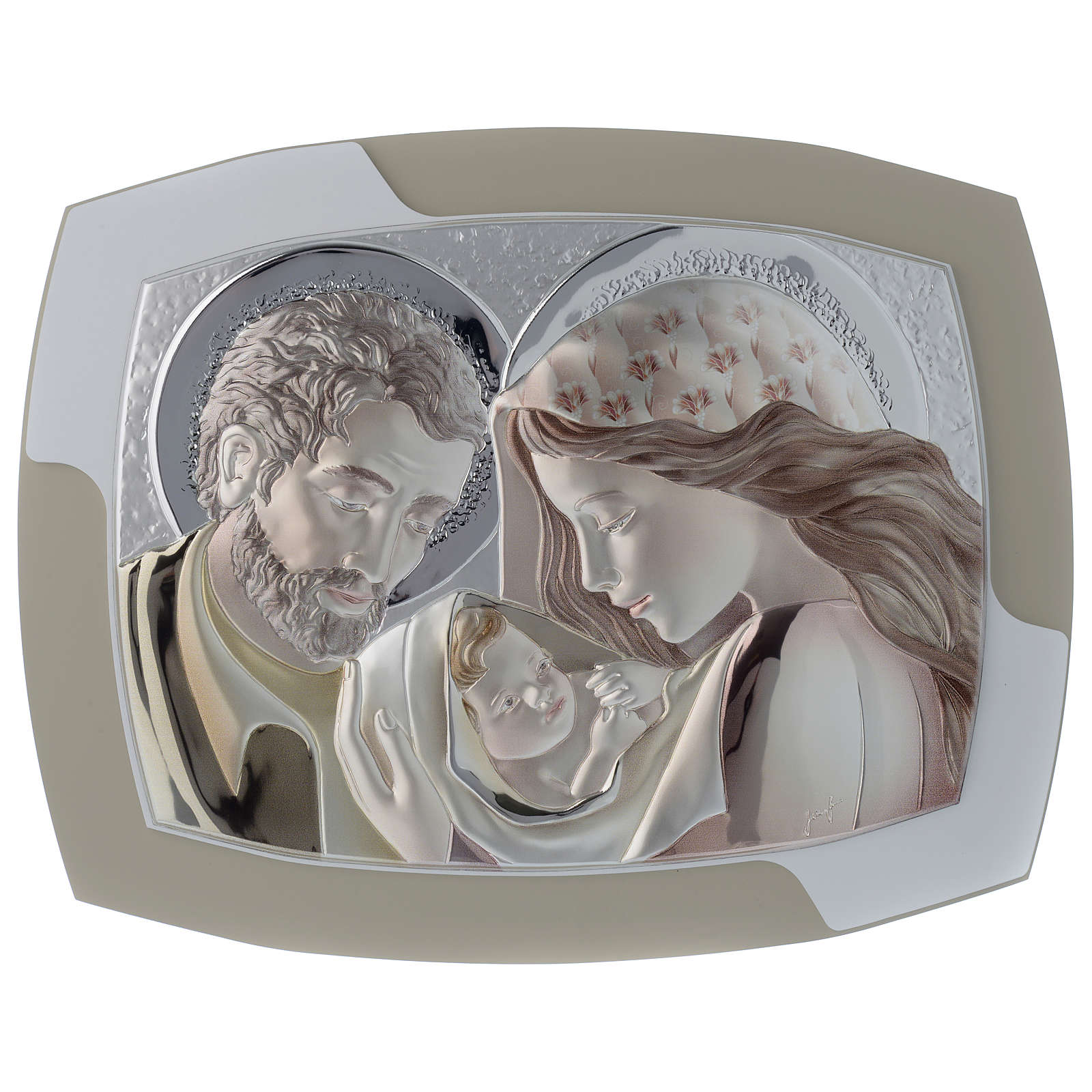 Holy Family headboard in silver and molded wood 3