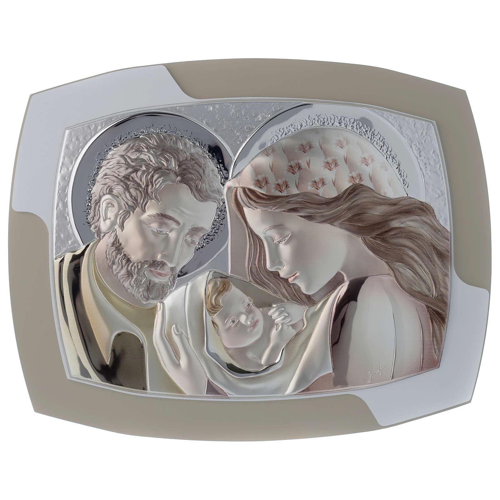 Obrazek Święta Rodzina srebro i drewno wyprofilowane 3