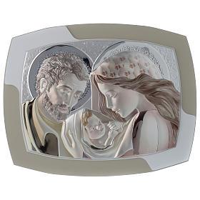 Obrazek Święta Rodzina srebro i drewno wyprofilowane s1