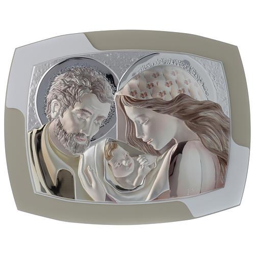 Obrazek Święta Rodzina srebro i drewno wyprofilowane 1