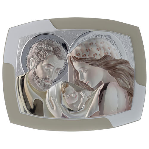 Holy Family silver print on two tone wood, 16x12.5 inc 1