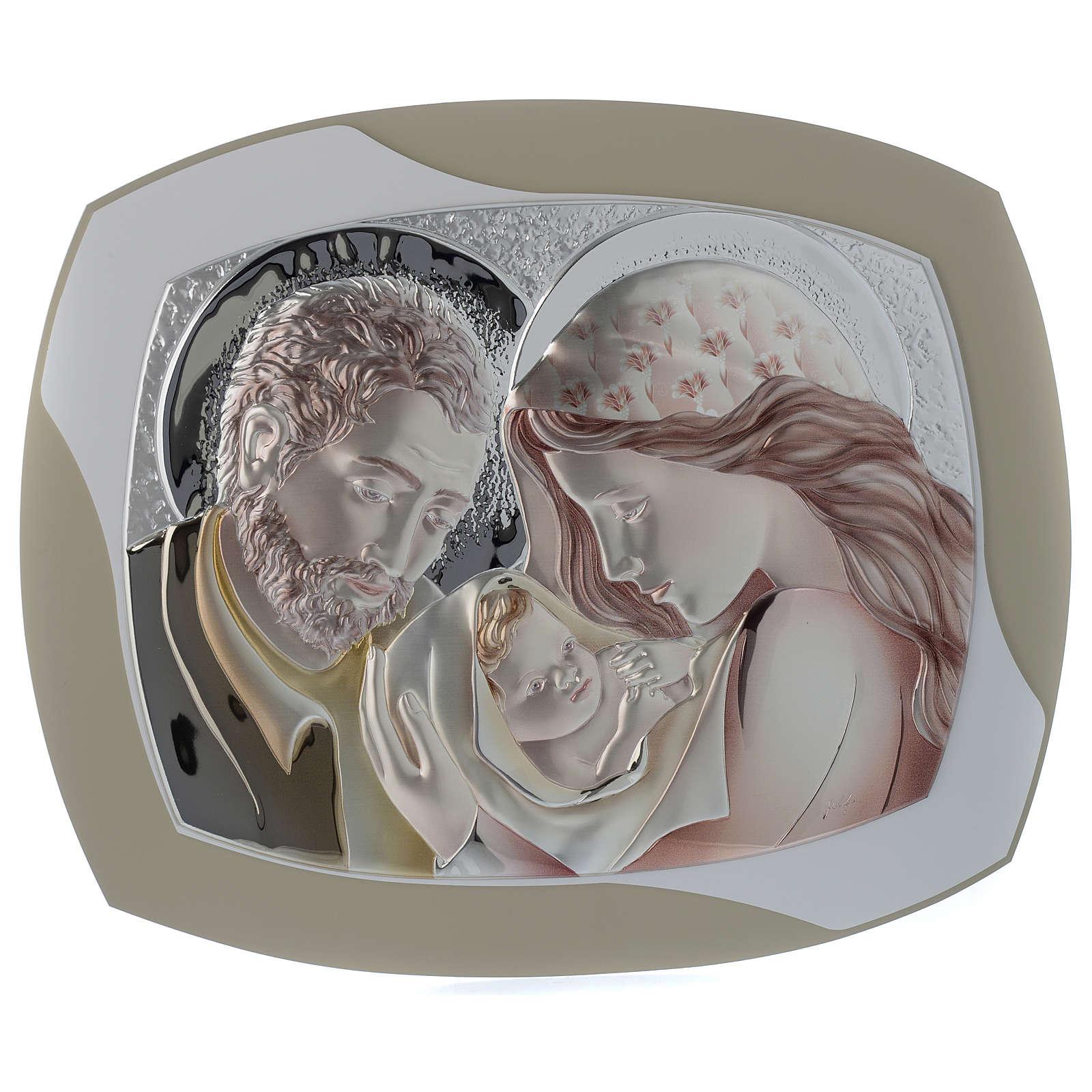Quadro capoletto S. Famiglia argento colorato e legno stondato 3