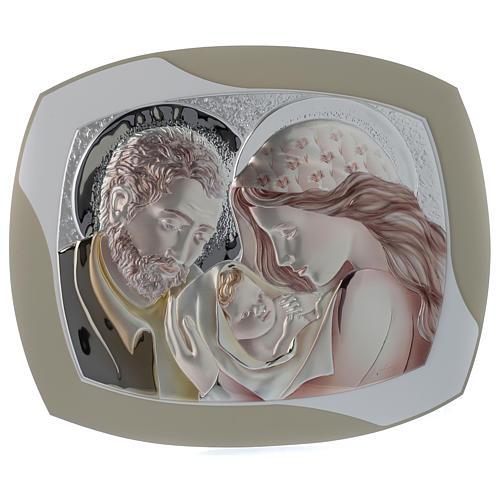 Quadro capoletto S. Famiglia argento colorato e legno stondato 1