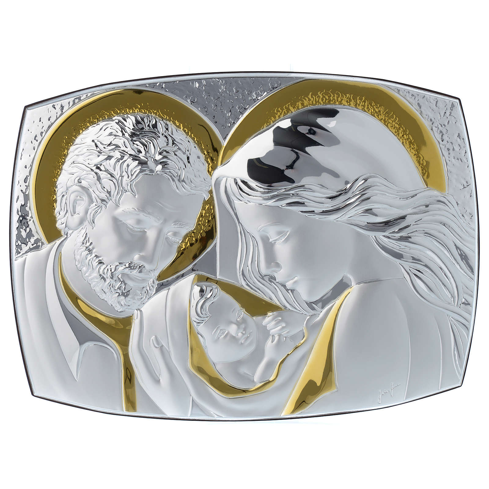 Holy Family silver plaque on wengé wood, 12.5x10 inc 3