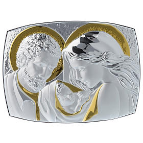 Holy Family silver plaque on wengé wood, 12.5x10 inc s1