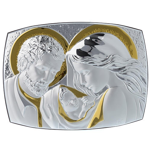 Holy Family silver plaque on wengé wood, 12.5x10 inc 1