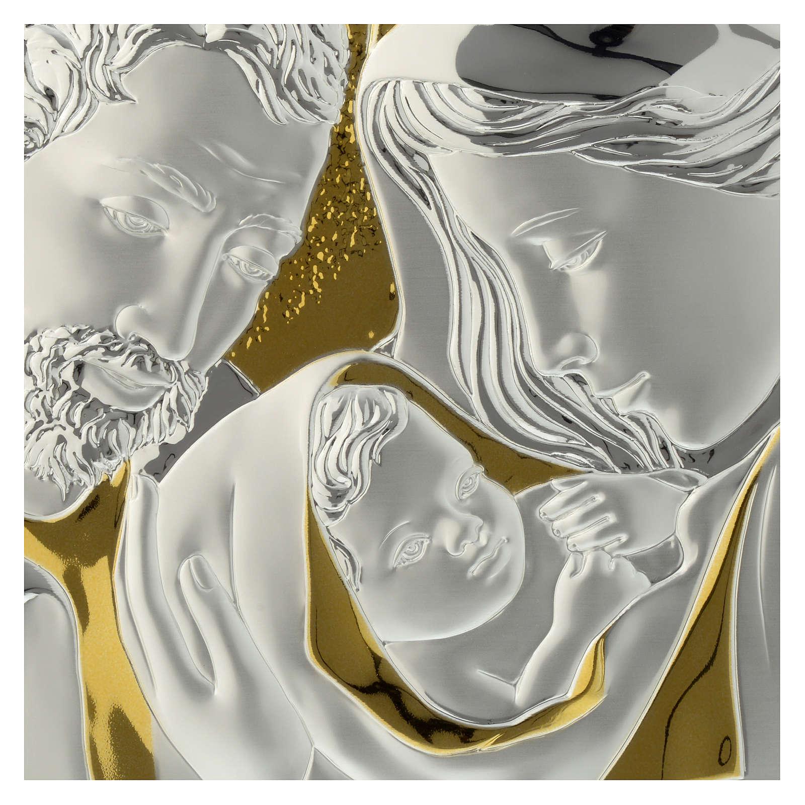 Bajorrelieve Sagrada Familia Madera color Wengé y Placa Plateada 3