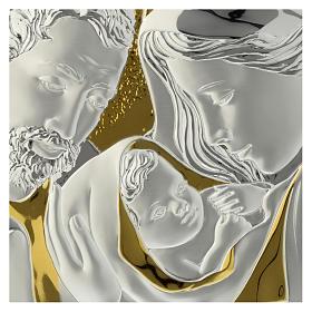 Bajorrelieve Sagrada Familia Madera color Wengé y Placa Plateada s2