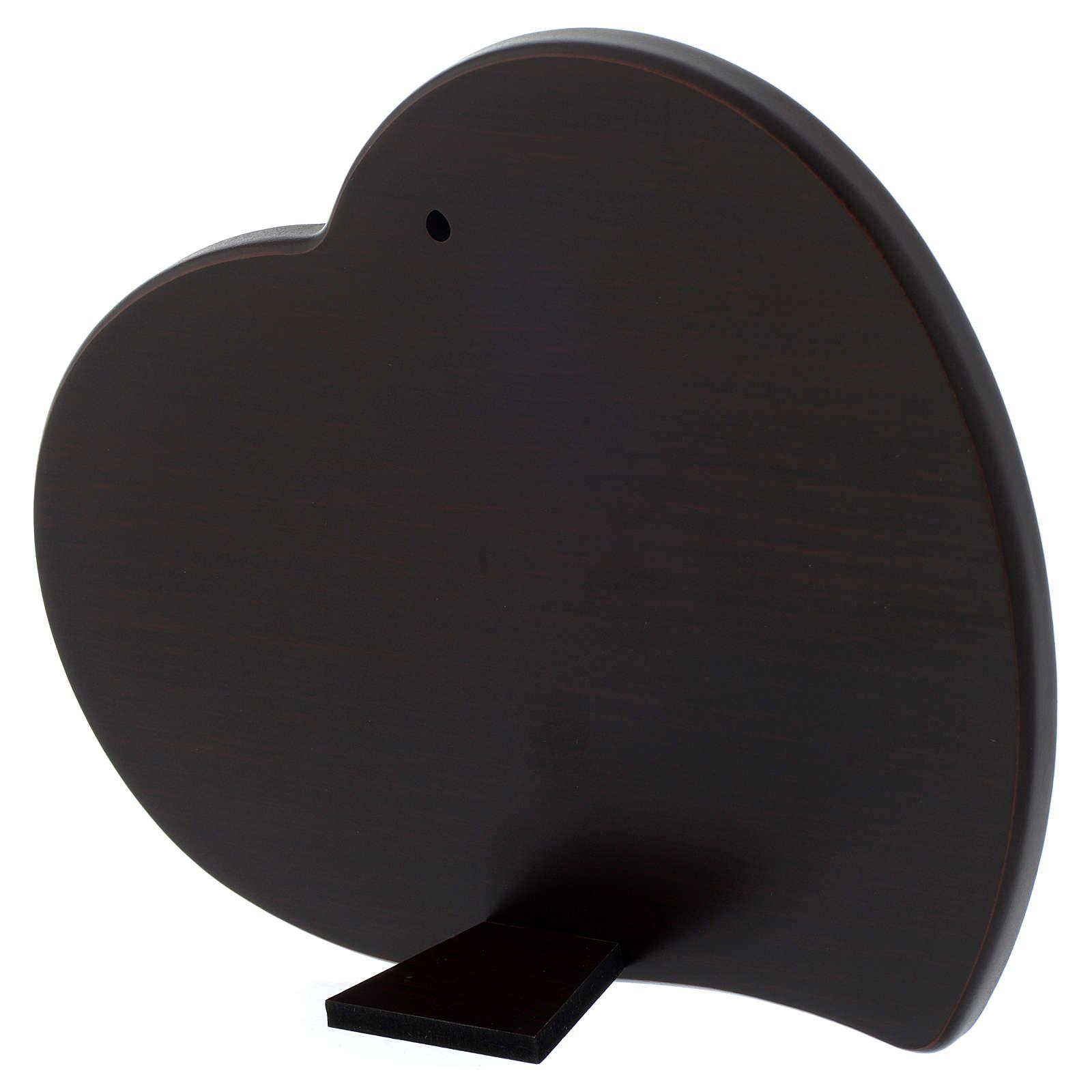 Quadro cuore S. Famiglia lastra argentata legno wengé 3