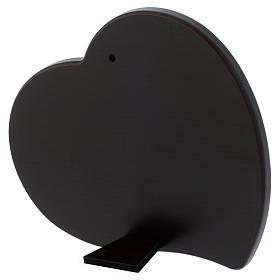 Quadro cuore S. Famiglia lastra argentata legno wengé s3