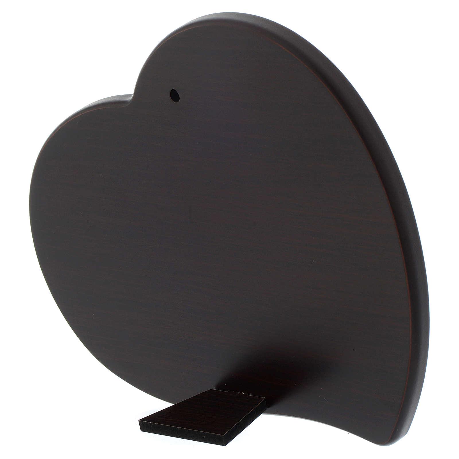 Quadro cuore Angelo Custode lanterna in legno e lastra argentata 3