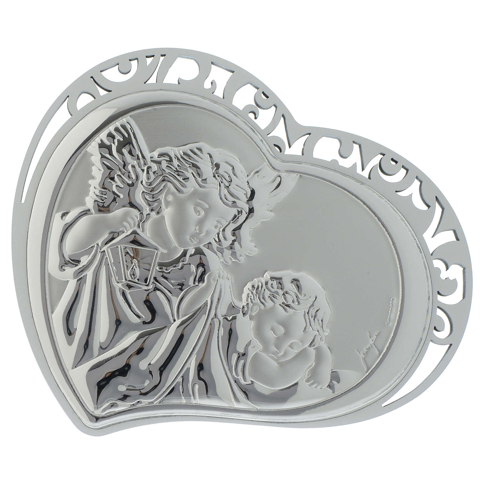 Guardian Angel silver print on white wood heart shaped 3