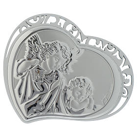Guardian Angel silver print on white wood heart shaped s1
