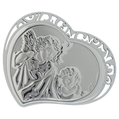 Guardian Angel silver print on white wood heart shaped 1