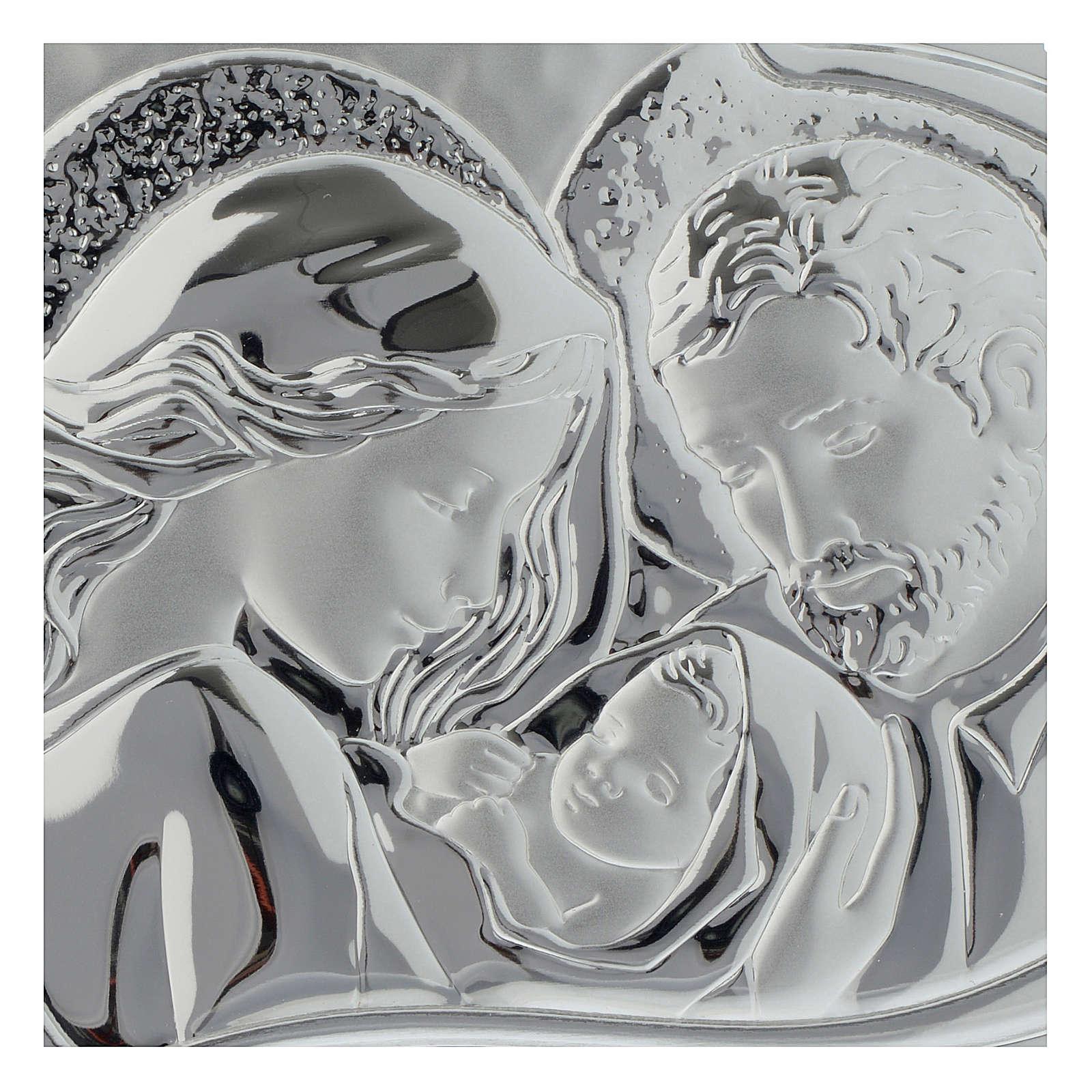 Cuadrito Sagrada Familia Corazón madera perforada lámina plateada 3