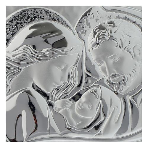 Cuadrito Sagrada Familia Corazón madera perforada lámina plateada 2