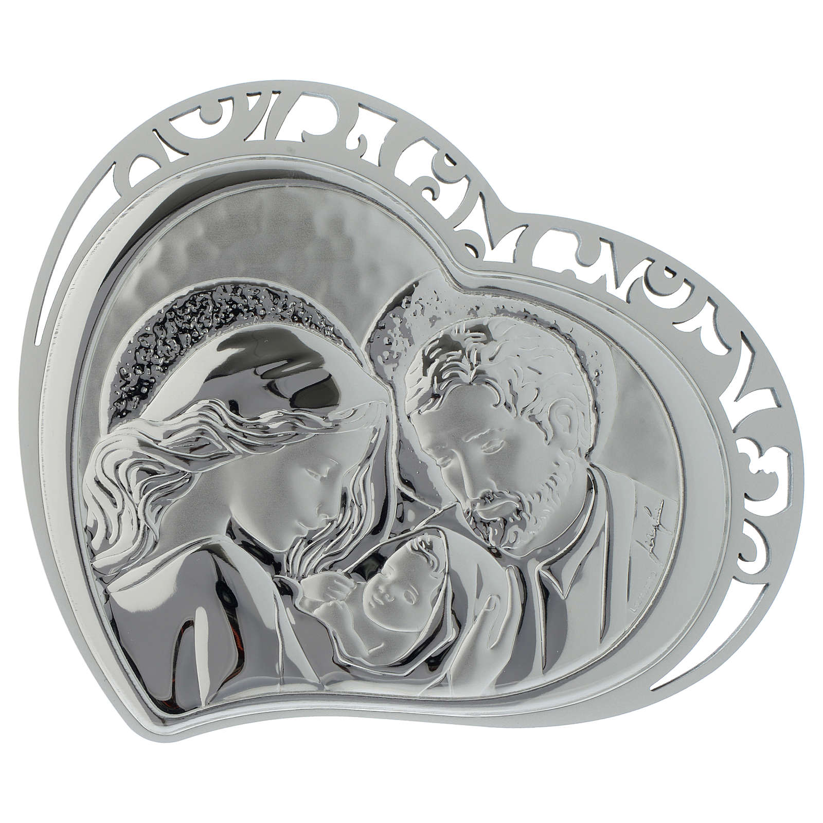 Holy Family silver plaque on white wood heart shaped 3